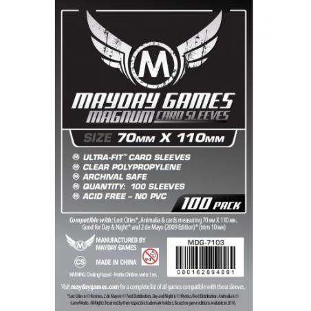 70 x 110 mm Fundas Mayday silver 100 unidades